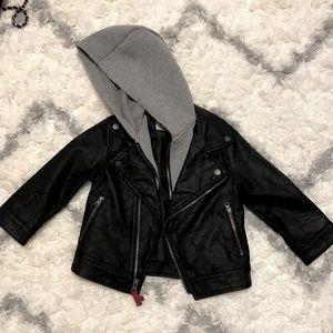 Oshkosh leather jacket with hoodie new